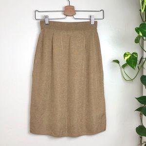 Diktons Barcelona Nude Gold Tan Midi Skirt